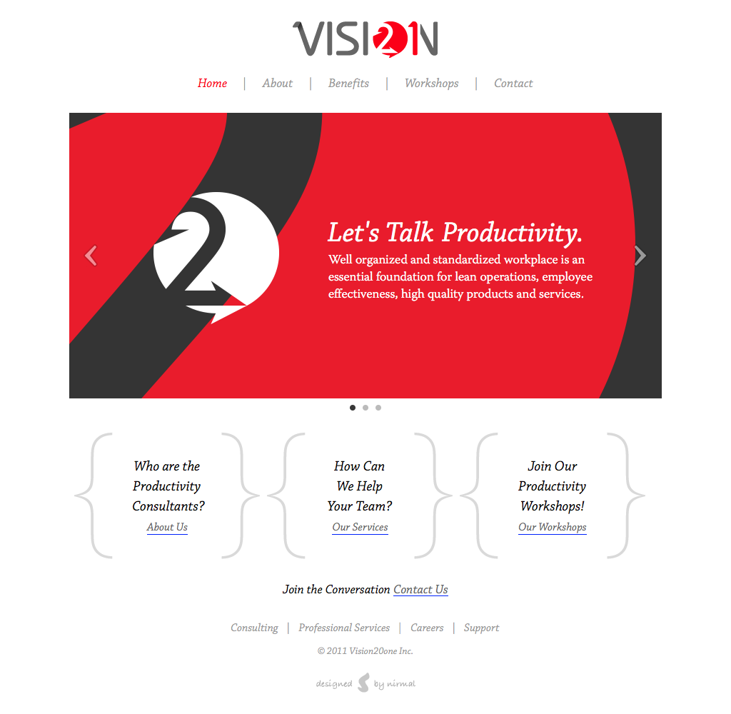 Vision 20 one home page